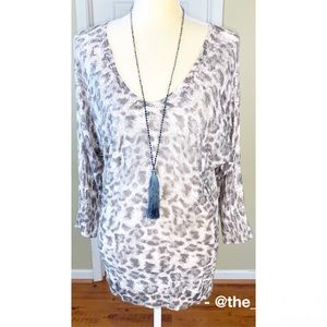 INC Leopard Print Light Dolman Sleeve Sweater SzL